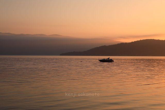 北海道 屈斜路湖の夕景